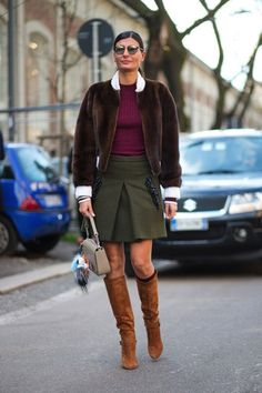 Giovanna military pleated skirt+burgundy blouse+brown shearling bomber jacket + lether hue long boots+neutral bag