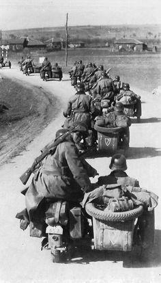German Army on the move through Bulgaria to the Yugoslav border at Klistendil on April -- Members of the Waffen SS Division as can be seen from the divisional insignia on the rear of the motor cycle side cars. German Soldiers Ww2, German Army, World History, World War Ii, Germany Ww2, War Photography, Panzer, War Machine, Military History