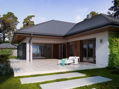 DOM.PL™ - Projekt domu TP Goran 2 CE - DOM TP2-03 - gotowy projekt domu Village House Design, House Front Design, Morrocan House, Modern Bungalow House Design, Pool House Plans, House Construction Plan, Model House Plan, Contemporary House Plans, House Blueprints