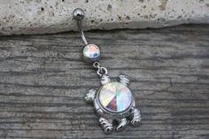 Turtle Belly Button Rings, Belly Bar, Navel Jewelry, Navel Piercing, Navel Ring, Opal Belly Ring, Belly Button Jewelry, Silver Crystals - iluvpiercingsntats @ etsy.com