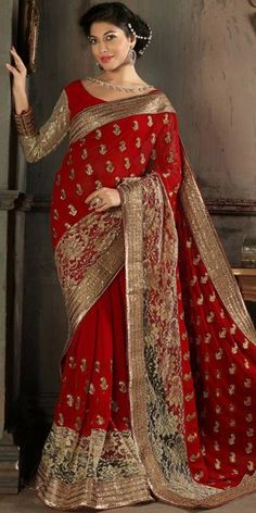 Red Saree With Embroidered Pallu.