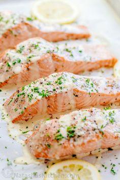 nice Oven Baked Salmon with flavorful and simple lemon cream sauce. Lemon beurre blan...