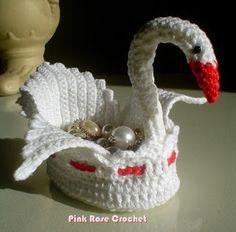 PINK ROSE CROCHET /: Cisne Cestinha de Crochê