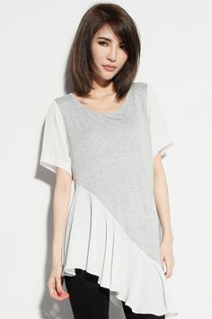 Grey Asymmetrical Color Block T-shirt from Romwe - Pair it with your favorite workhorse bottom; those old favorite jeans, loosey-goosey linen pants or cut-off walking shorts. This could be dramatic or understated just depending on what you cover your rump with.