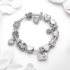 50% OFF!!! $359 Pandora Bangle Charm Bracelet Pink. Hot Sale!!! SKU CB01820 - PANDORA Bracelet Ideas #fashionhandbags