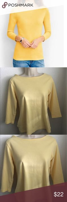Talbots Yellow Cotton Top Light beautiful top. Size small. In excellent used condition. 3/4 sleeve. 22 inches from top to bottom. Cotton spandex material. Talbots Tops