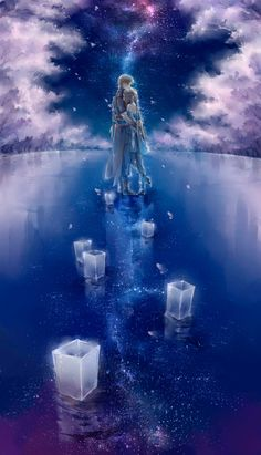 Click this image to show the full-size version. Sky Anime, Anime Galaxy, Anime Art, Anime Love Couple, Anime Couples Manga, Animation, Anime Scenery, Pretty Wallpapers, Galaxy Wallpaper