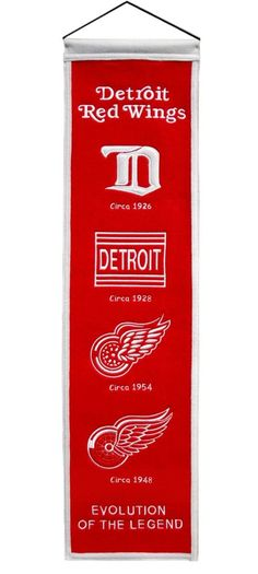 Detroit Red Wings Banner 8x32 Wool Heritage