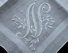Vintage Madeira Embroidered Monogram N Floral Hanky Wedding Handkerchief  #Unbranded #Wedding