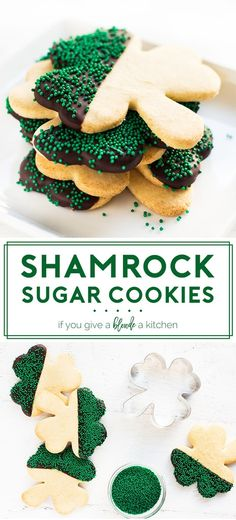 shamrock st patrick's day sugar cookies Chocolate dipped with green sprinkles. Sugar Cookies Recipe, Cookie Recipes, Dessert Recipes, Delicious Desserts, Awesome Desserts, Cookie Ideas, Pie Recipes, Dessert Ideas, Recipes