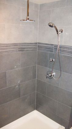 Bathroom Ideas Gray Tile field tile: daltile linden point in grigio | accent: level pebble