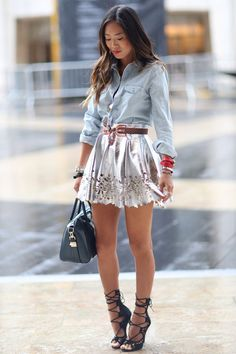 Denim Shirt with cute skirt! Oh My seeing this everywhere!