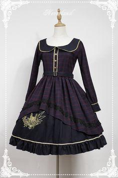 Neverland Lolita -Prospective Student- Embroidery Long Sleeves Lolita OP Dress