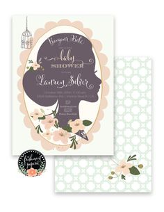 Welcome to Freshmint Paperie!    This beautiful BONJOUR BEBE invitation is so gorgeous with swirly crisp calligraphy & floral details! Our