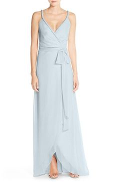 Ceremony by Joanna August 'Parker' Twist Strap Chiffon Wrap Gown available at #Nordstrom
