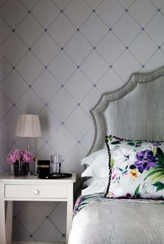 Torosay Wallpaper with Kintail Headborad and bedspread, Rosslyn cushion and betty bedside table. Wallpaper Furniture, Fabric Wallpaper, Nina Campbell Wallpaper, Luxury Wallpaper, Inspirational Wallpapers, Bedspread, Bedside, Luxury Homes, Bedrooms