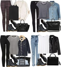"alyucma: ""Requested, school outfit w matte docs by alyucma featuring Topshop Coach boyfriend cardigan / T By Alexander Wang top / Boyfriend shirt, $27 / Topshop black shirt / Alexander Wang motorcycle..."