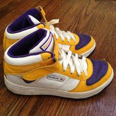 Vintage Lakers Purple Yellow Hi-top Reeboks Price drop  60 🔻 45! Lakers 87785dfbd