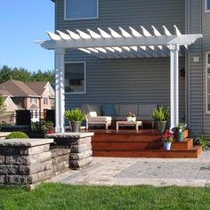 Deck with pergola and patio