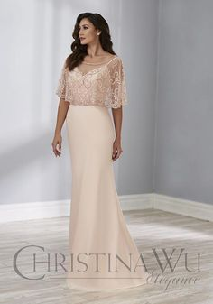 d9e8611ed8cd Christina Wu Elegance 17888 is an elegant two pieces mother of the bride  gown that has a sweetheart neckline and narrow straps, and a separate sheer  beaded ...