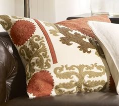 $79.50 is too pricy for a pillow for me but it may match the couch, Suzani Embroidered Pillow Cover - Warm #potterybarn