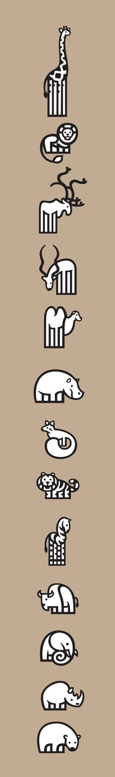 Pictograms - ZOO by Jorge Dias, via Behance #grafica #illustrazione #animali