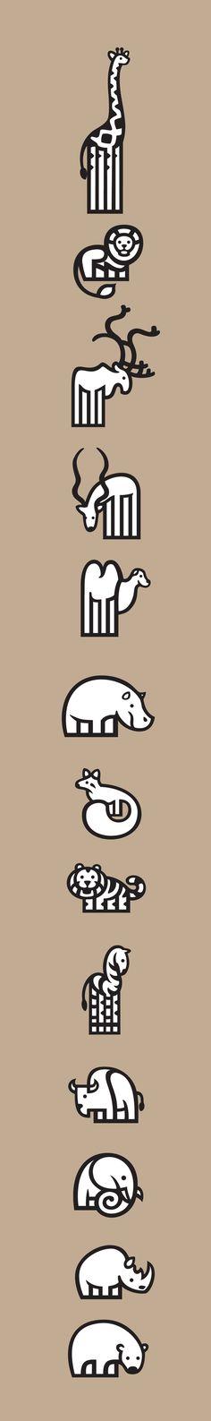 Pictograms - ZOO by Jorge Dias, via Behance #grafica #illustrazione #animali