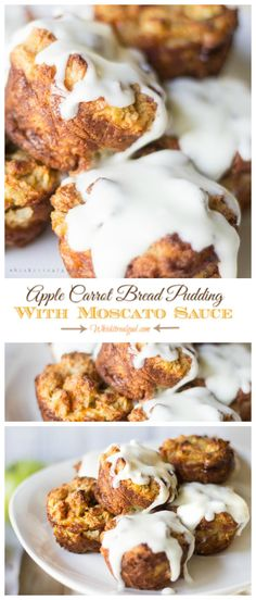 The flavor in this Simple Apple Carrot Custardy Bread Pudding is perfection! Lightly sweet and melt in your mouth good! The rich Moscato Sauce truly completes the dessert!