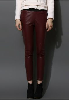 Faux Leather Leggings in Wine Red. I need these