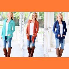 Our popular Back to Basics Cardigans will be restocked tonight in jade, burnt orange and navy! $29 free shipping! 8pm cst! #fabcolors #restocks #cardiganfever #fallfashion #fallfavs #cardigans #toptrends #stylish #dresstoimpress #beautyandstyle #trendy #ootd #instafashion #instastyle #womensclothing #bestdressed #comingtonight #freeshipping #fashionista (at http://www.hazelandolive.com/)