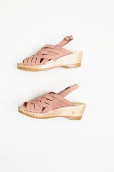 477aff02985a02 No.6 Catskill Braided Slingback on Mid Wedge in Pink Sand Clog Sandals