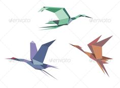 Herons, Cranes and Storks  #GraphicRiver         Herons, cranes and storks in origami style isolated on white background.