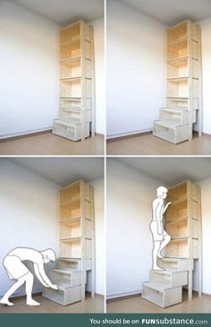 StairCASE: Ladder & Shelving Unit by Danny Kuo - Space saving shelves – what a cool idea, especially for short people like myself :] You are in the - Ladder Shelving Unit, Book Shelves, Bookshelf Ladder, Drawer Shelves, Storage Shelves, Short Bookshelf, Diy Pull Out Shelves, Cheap Shelves, Storage Units