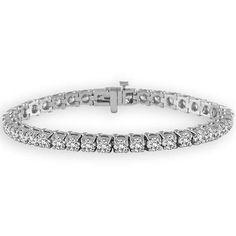 Ben Garelick 14K White Gold Four Carat Diamond Tennis Bracelet in a Four Prong Setting. Free Shipping Online Prices