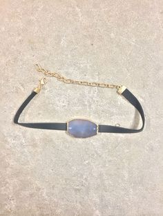 DejaVu Leather Choker Necklace (Black/Gold/Quartz)