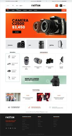 Fastor is clean, stylish and modern design responsive #Magento 2 theme for #camera shops stunning #eCommerce website with 74 niche homepage layouts download now..