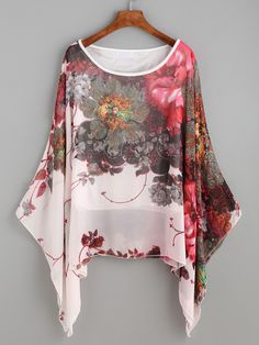 Shop Pink Floral Print Batwing Chiffon Blouse online. SheIn offers Pink Floral Print Batwing Chiffon Blouse & more to fit your fashionable needs.