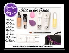This collection includes: 1 Illuminate (your choice of Clean or Clear) 1 Glorious Face & Eye Primer 1 Touch Mineral Liquid Foundation 1 Touch Mineral Skin Perfecting Concealer 1 Blending Buds 1 Concealer Brush 1 Uplift Eye Serum 1 Divine Daily Moisturizer 1 Younique makeup bag