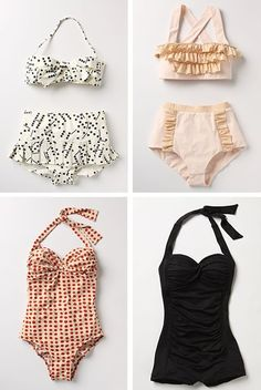 retro swimsuits. so cute and flattering!