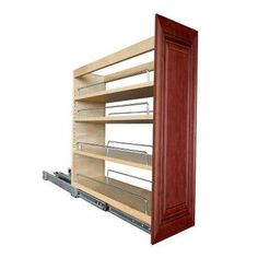 12x34.5x24 in. Lyndhurst Assembled Base Cabinet with Pantry Pullout in Cabernet