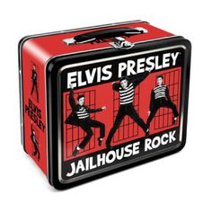 Elvis Presley Jailhouse Rock Lunch Box - Scenes from Elvis' rockin' cellblock decorate this slick red tin Elvis Presley lunch box.
