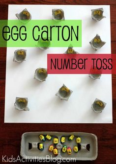 Egg Carton Challenge- could have children roll playdough into balls and attempt to drop into cups...great for hand- eye & fine motor!