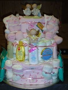 Baby Diaper Cake for twins by Karen Miniaci