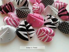 Zebra Paper Fortune Cookie Party Favors - Black Pink White - Rhinestone Bling