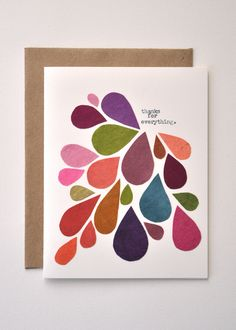 Megan Jewel - Thank You Card - Handmade Greeting Card - Abstract -Mod - Fall Colors - Thanks for everything - Raindrop Card. $8.00, via Etsy.