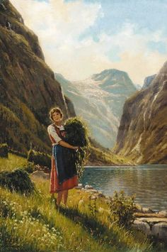Adelsteen Normann - Young woman harvesting in a fjord scene