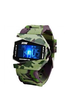 5098f27ea42 Mens bomber watch now available in Camo. LED light can be set to 7 colors