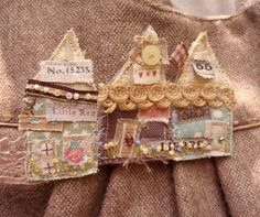 Gorgeous Shabby Chic Textile Brooch free UK postage