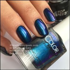Color Club Oil Slicks – Color Club It's Raining Men over Revlon Black Magic. The whole collection swatched at imabeautygeek.com