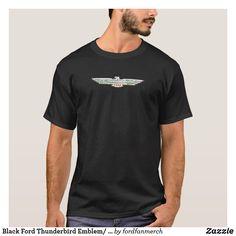 Black Ford Thunderbird Emblem/ Logo 50s Car T-Shirt #zazzle #mrtbird #thunderbird #fordclassiccars #1950s #classiccars #giftsformen